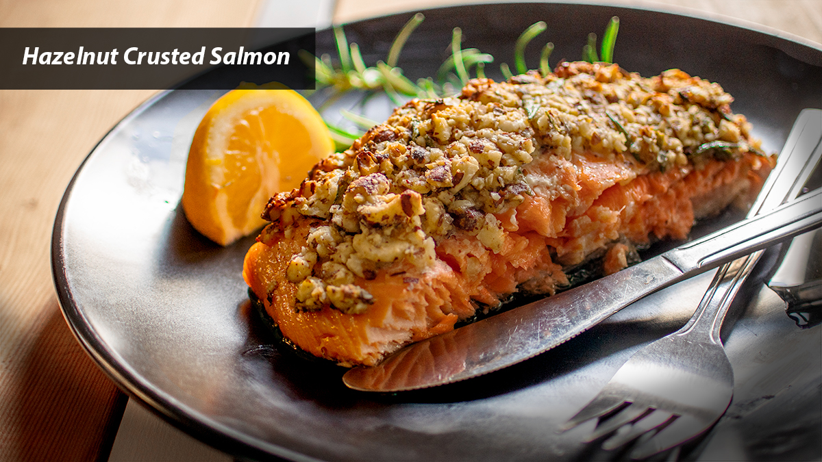Hazelnut crusted salmon